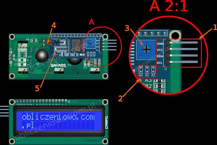 Rysunek poglądowy modułu LED z magistralą szeregową i2c