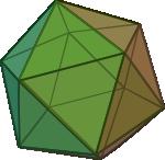 Ilustracja czworościanu foremnego (ikosaedr-u)