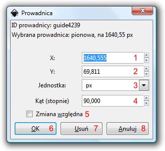Widok okna Prowadnica w programie Inkscape