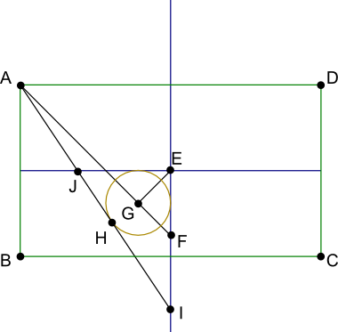 początek konstrukcji owalu wpisanego w prostokąt