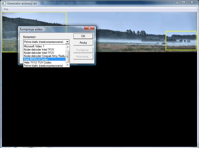 Screen programu tworzącego animacje AVI - okno wyboru kodeka.