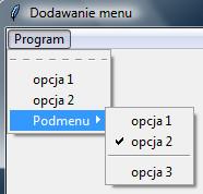 Wycinek widoki programu z menu utworzonym przy użyciu modułu tkinter