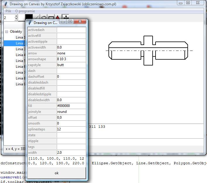 Screen programu umożliwiającego rysowanie różnych obiektów w kontrolce Canvas