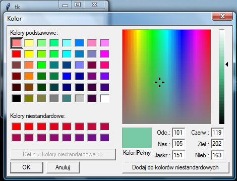 Okno wyboru koloru na Windowsie wywołane za pomocą modułu tkinter języka programowania Python
