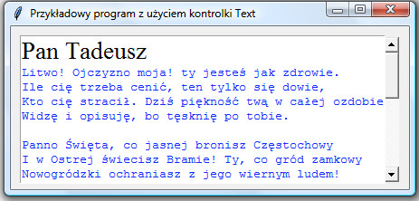 Przykład użycia kontrolki scrollbar z modułu tkinter języka programowanie Python