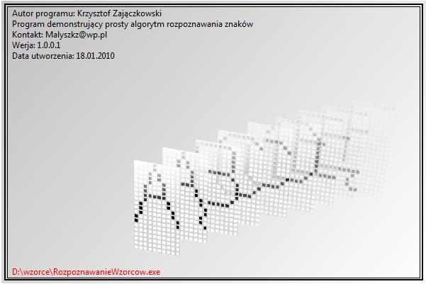 Okno startowe programu <b>RozpoznawanieWzorcow.exe</b>.