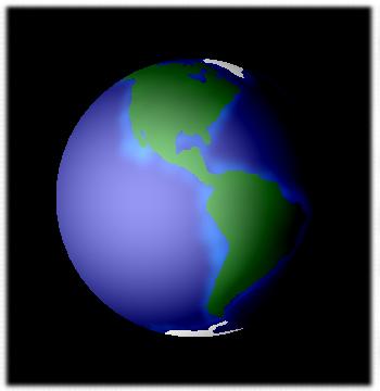 Zwinięta siatka Ziemi w programie <b>EarthAnim.exe</b>.