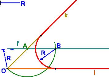 Konstrukcja zaokrąglenia kąta zadanym promieniem R
