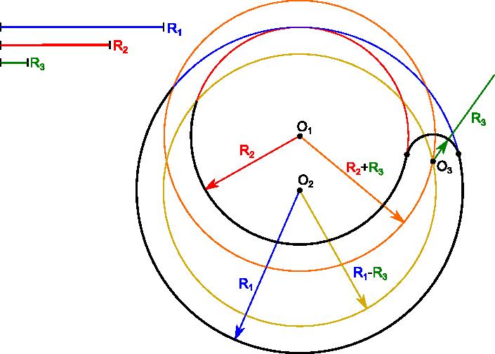 Konstrukcja umożliwiająca narysowanie łuku stycznego do dwóch okręgów.