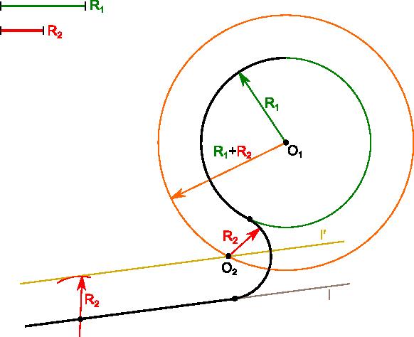 Konstrukcja umożliwiająca narysowanie łuku stycznego do okręgu i prostej.
