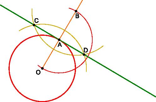 Kreślenie stycznej do okręgu w punkcie <b>A</b>.