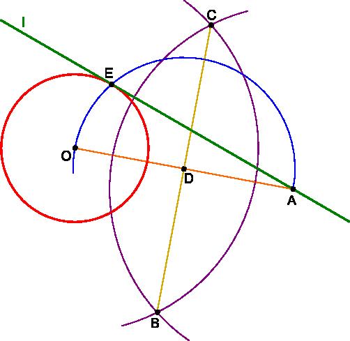Kreślenie stycznej do okręgu z punktu <b>A</b> leżącego poza okręgiem.