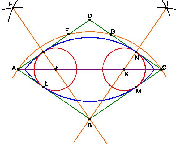 Kreślenie owalu wpisanego w romb.