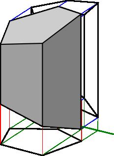 Graniastosłup - widok w perspektywie z rzutniami.