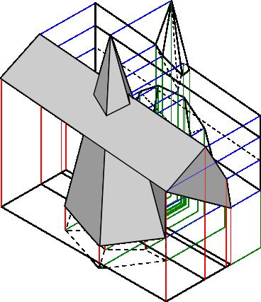 Przenikanie graniastosłupa z ostrosłupem w perspektywie wraz z rzutniami.