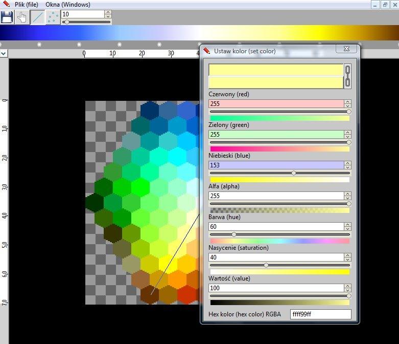 Interfejs programu, w którym otworzony został plik graficzny.