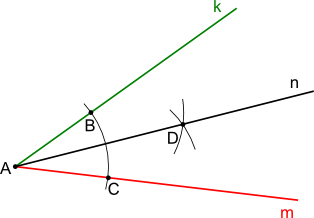 Konstrukcja kreślenia siecznej kąta płaskiego