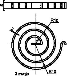 Rysunek szczegółowy sprężyny spiralnej