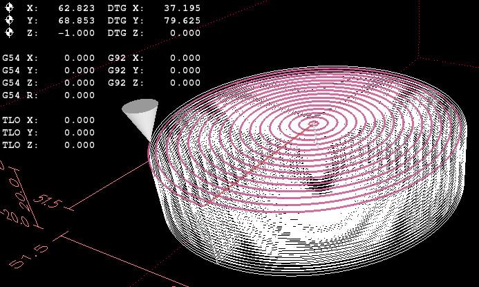 Widok symulacji frezowania kieszeni okrągłej przeprowadzonej w programie LinuxCNC