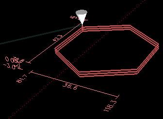 Widok symulacji procesu wycinania wielokąta foremnego w programie LinuxCNC