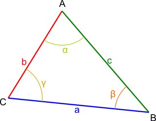 trójkąt z oznaczeniami kątów