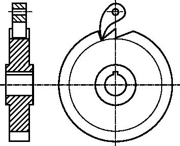 Rysunek techniczny jednokierunkowego mechanizmu zapadkowego